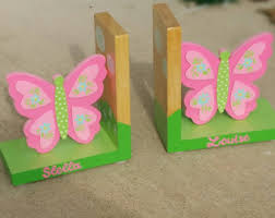 personalized bookends baby pink butteflies bookends for toddler wood personalized