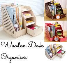 qoo10 desk organiser wooden desk file organizer desktop