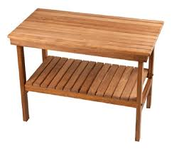 deluxe teak shower bench with shelf free shipping