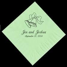 wedding napkins bells personalized napkins