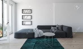 modern comfortable grey day bed sofa in a living room interior