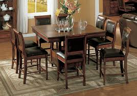 Dining Table And Six Chairs Square Dark Brown Wooden Table And Six Chairs With Black Leather