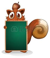 illustration of a squirrel hiding at the back of an empty blackboard