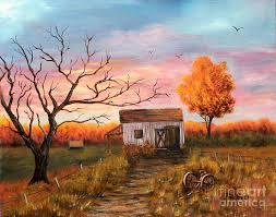 Photos Of Old Barns Old Barn Painting At Sunset Painting By Judy Filarecki