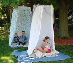 cute and easy forts for kids made with hula hoops and shower