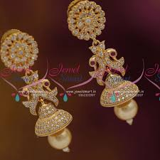 buy jhumka earrings online cz white pearl drops low price jhumka earrings buy online