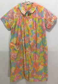 vintage bright 60 s floral babette dress house coat moo moo flowers