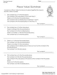 free worksheets place value worksheets printable 4th grade