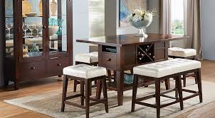 rooms to go dining sets julian place chocolate vanilla 6 pc counter height dining room
