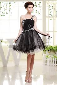 cute black tulle one shoulder party dress homecoming dresses