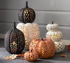 ceramic pumpkins filigree punched ceramic pumpkins pottery barn