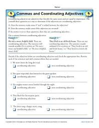 commas and coordinating adjectives comma worksheets