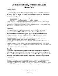 comma splices fragments and run ons 7th 12th grade worksheet