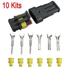 10 kits 3 pin way waterproof electrical wire connector plug