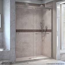 Standard Size Shower Door by Shop Dreamline Encore 50 In To 54 In W Frameless Brushed Nickel