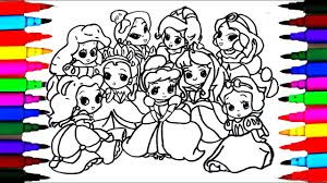 draw 9 disney princess baby coloring drawing pages