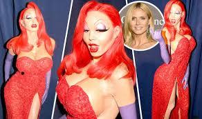 Halloween Costumes Jessica Rabbit Heidi Klum Flaunts Enormous Fake Bust Transforms