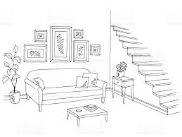 living room graphic black white interior sketch illustration