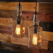 Whiskey Bottle Chandelier Rustic Pulley Pendant Light With Whiskey Bottles Id Lights