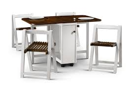 wall mounted folding kitchen table with triple chairs on white