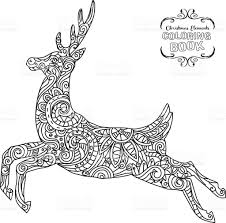 hand drawn christmas reindeer ornament coloring book tangle stock
