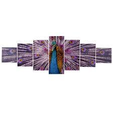 wandbilder 3 teilig t375 xl wandbild keilrahmenbild kunstdruck 7 teilig 245x87cm pfau