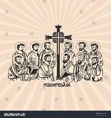 drawing twelve apostles jesus christ writing stock vector