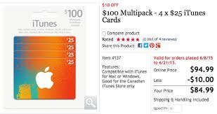 100 itunes card multipacks on sale for 20 at 79 99 from
