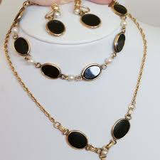 jewellery necklace vintage images Vintage estate set 12k gold filled real onyx and pearl necklace jpg