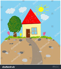 house garden illustration childs picture draw stock illustration