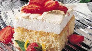 lemon meringue cake with strawberries recipe bettycrocker com