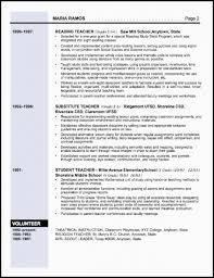 Substitute Teacher Resume Job Description Teacher Resume Examples Teaching Cv Template Job Description