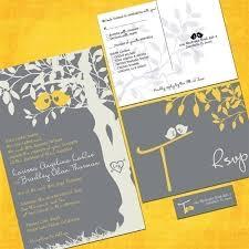 bird wedding invitations gray and yellow birds wedding invitation sle packet