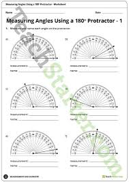 measuring angles using a 180 degree protractor worksheet
