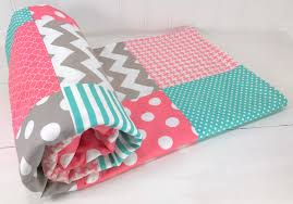 Pink And Teal Crib Bedding by Baby Blanket Minky Blanket Coral Crib Bedding Girl Nursery
