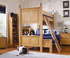 varnished wooden bunk bed with two drawers built in ladder using