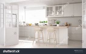 Minimalistic Interior Design Scandinavian Classic Kitchen Wooden White Details Stock