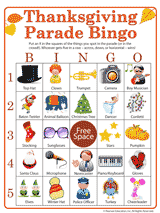 thanksgiving parade activity printable bingo familyeducation