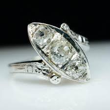 antique art deco ring diamond ring rstate ring navette ring 1950s