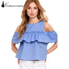 shoulder cut out blouse pleated ruffle patchwork shirts cold shoulder cut out
