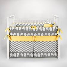 elephant chevron zig zag gray u0026 yellow baby bedding 5pc crib set