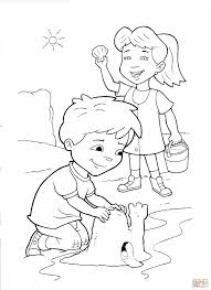 emmy and max are making castle coloring page free printable