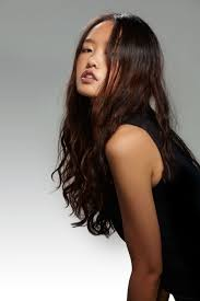 asian model with black long hair women medium haircut