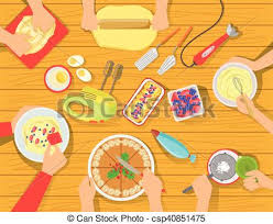 cuisine illustration cooking pastry together view from above simple