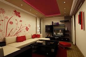 for white wall living room interior design red flower living room