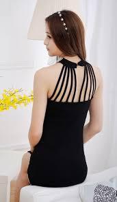 zumeet women slim split pearl collar halter dress black zumeet