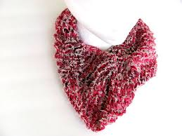 scarf cowl in red and white denim free us shipping