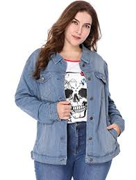 light wash denim jacket womens agnes orinda women s plus size stitching button up washed denim