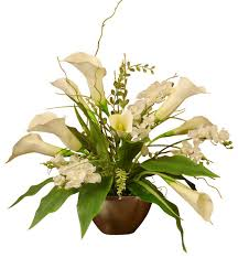 Silk Flowers Arrangements - white calla lily and orchid silk flower arrangement traditional