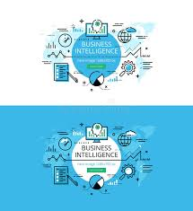 color of intelligence business intelligence flat line color hero images stock